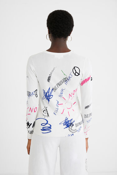 Cotton T-shirt doodles and phrases | Desigual