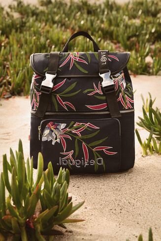 Floral embroidered backpack