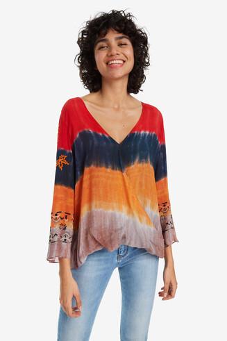 Tie-dye-Bluse mit weiten Ärmeln Sade