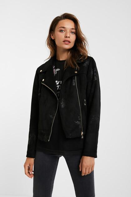 Slim floral biker jacket