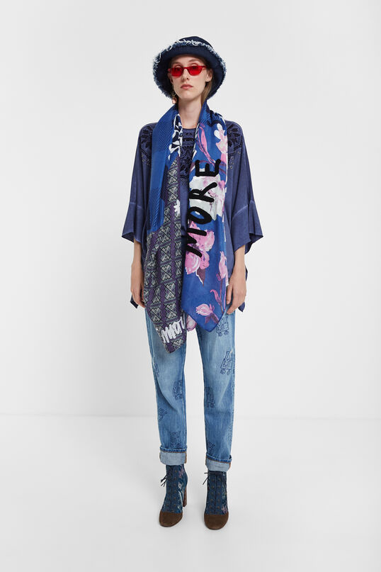 Foulard fleurs tartan | Desigual