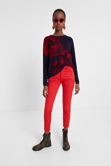 Floral sweater with rear opening | Desigual