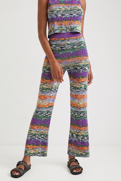 Pantalon patte d'éph à motif chiné
