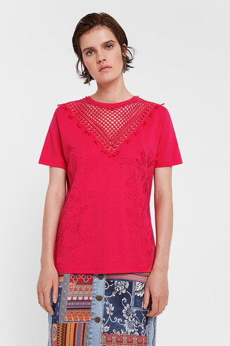 Geblümtes T-Shirt mit Mesh-Einsatz