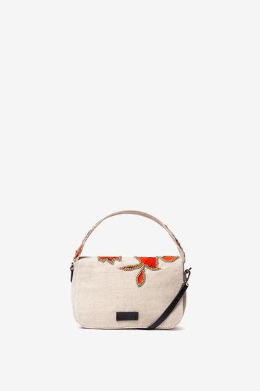 Bossa rectangular de solapa amb hibiscs | Desigual