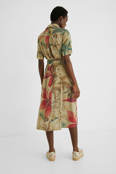 Vestido largo camisero tropical | Desigual