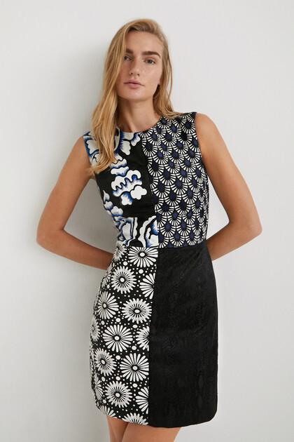 Slim fit jurk met patchwork