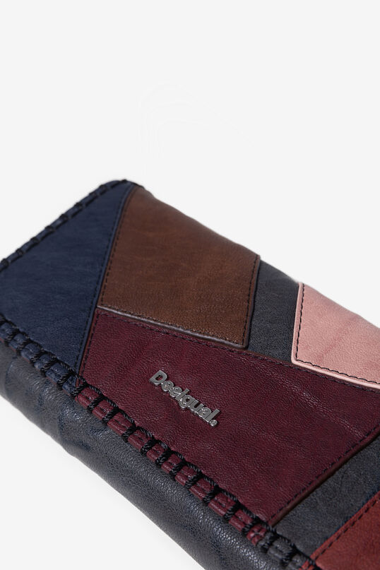 Rectangular coloured leather patch coin wallet | Desigual