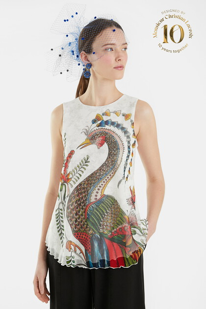 Flounced T-shirt peacock