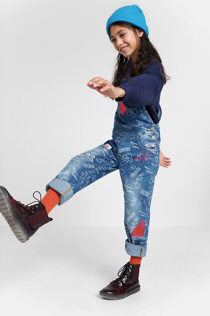 Bolimania print denim overalls