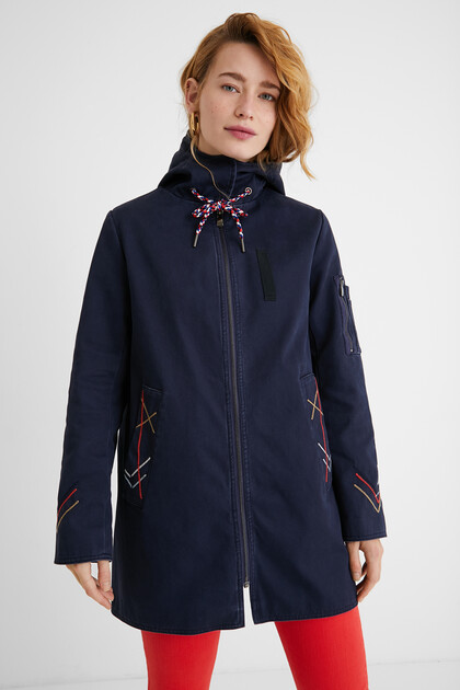 Hooded parka embroidery