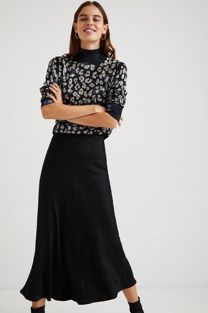 テクスチャー装飾柄 ミディスカート