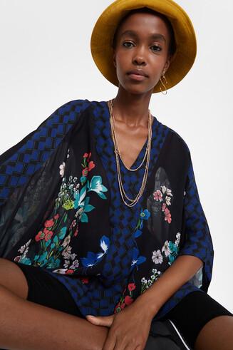 Floral poncho blouse