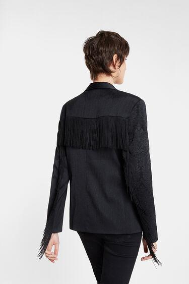 Fringed jacquard blazer | Desigual
