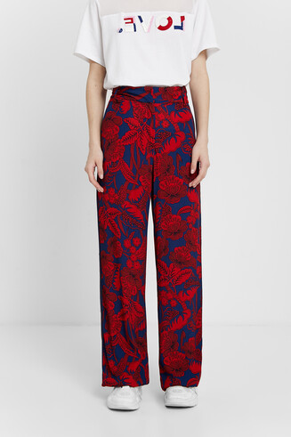 Pantalon palazzo imprimé fleuri