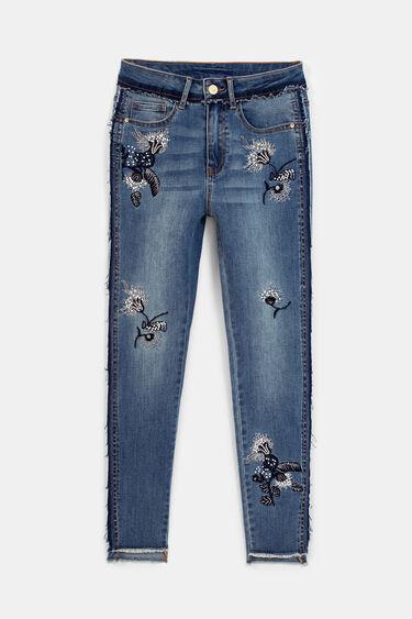 花柄刺繍 スキニージーンズ | Desigual