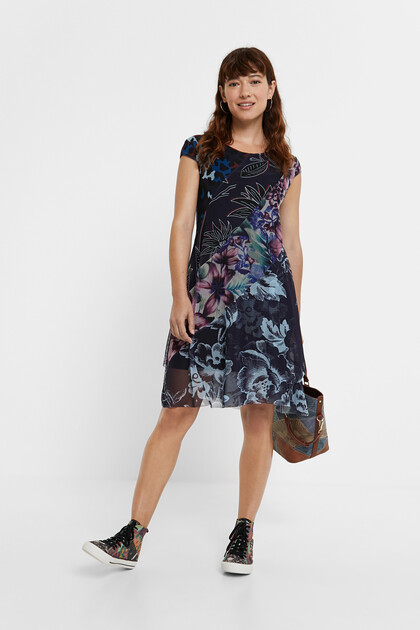 Dress flowers animal print