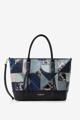 Blue patch shopping bag