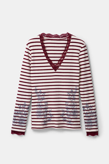 Floral and striped T-shirt with lace | Desigual
