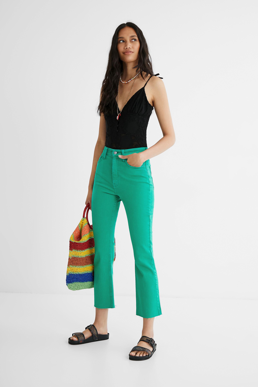 Hosen - Knöchellange Hose mit ausgestelltem Bein GREEN 38  - Onlineshop Desigual
