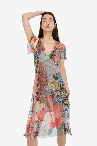 V-neck floral midi dress Daria