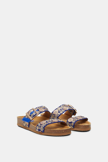 Sandalen met kurkzool en geborduurde banden | Desigual