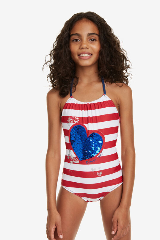 Reversible Heart Striped Swimsuit Lima | Desigual
