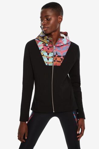 Slim print sweatshirt hood