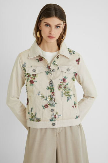 Slim denim jacket flowers | Desigual