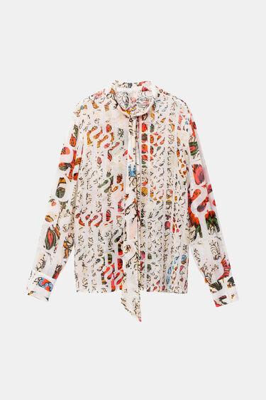 Blusa de viscose e seda com laço na gola Designed by M. Christian Lacroix | Desigual