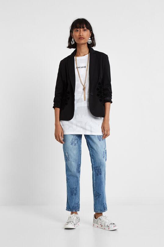 Black Embroidered Blazer   Desigual