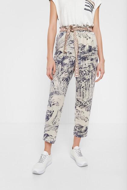 Pantalon japonais chevilles et paperbag