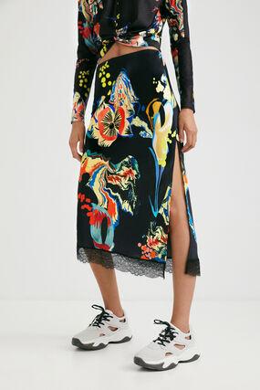Falda slim midi estampada
