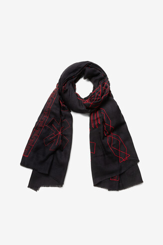 Sjaal met hart en franjes
