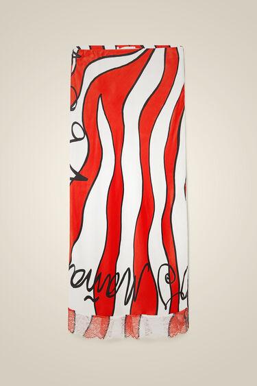Jupe crayon façon lingerie à vagues rouges | Desigual
