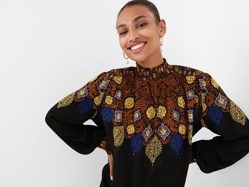 Viscose blouse gathered high neck
