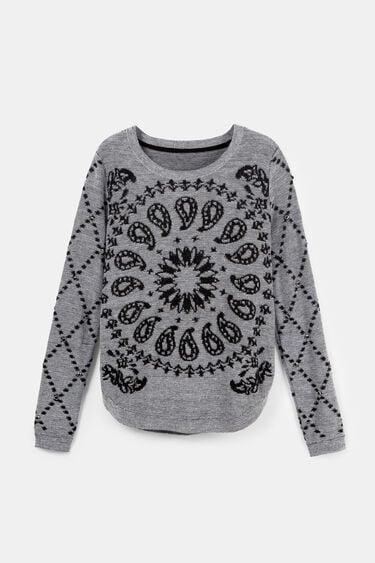 Viscose, wool and cashmere curved hem sweater | Desigual