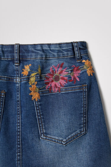 Jupe courte en jean fleurs | Desigual