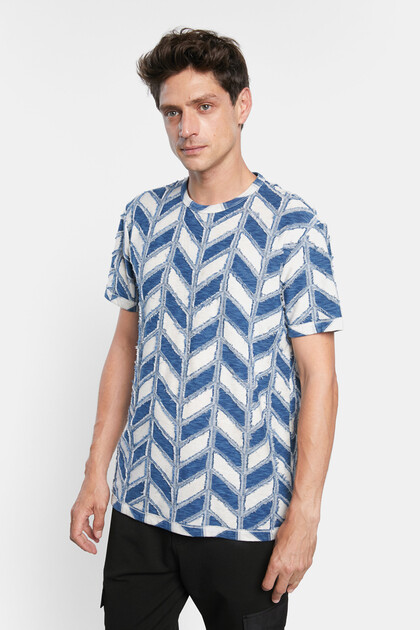 T-shirt met geometrische jacquard