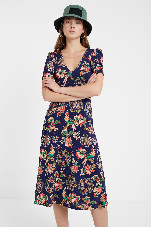 Desigual Vestito floreale svasato con risvolto