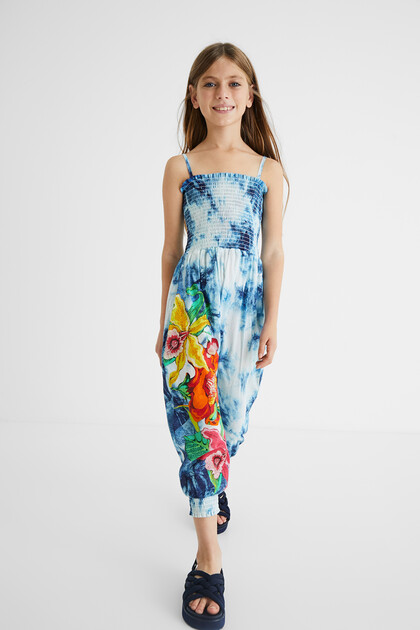 Long cotton jumpsuit tie dye flowers