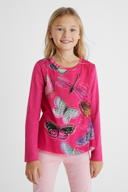 Shirt met 3D-vlinders