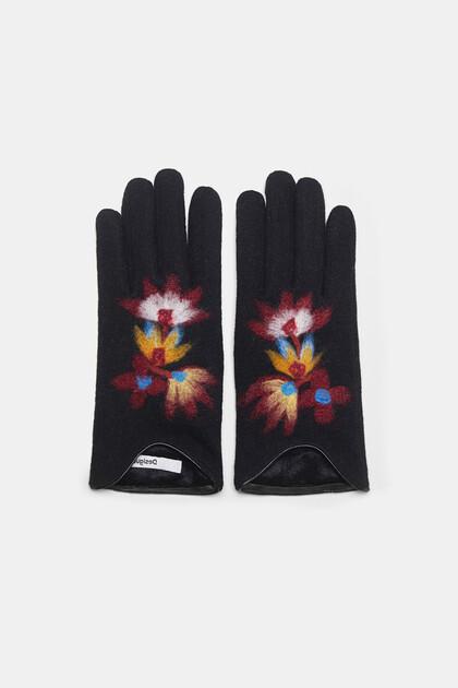 Floral knit gloves