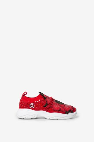 Sneaker con lentejuelas y patch floral