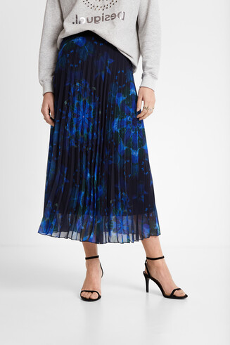 Pleated mini skirt mandalas print