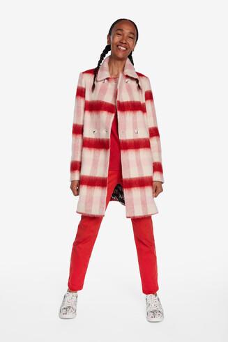 Manteau en laine à double boutonnage.