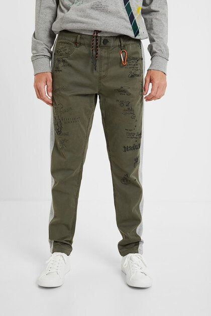 Plush and denim hybrid trousers