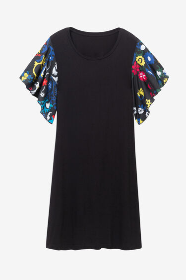 Black dress with printed ruffled sleeves | Desigual