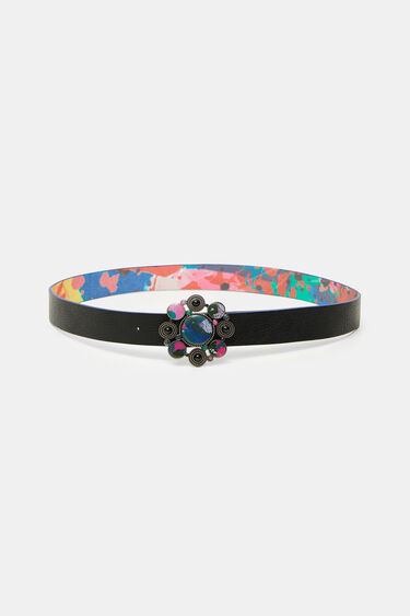Reversible belt buckle round stones | Desigual
