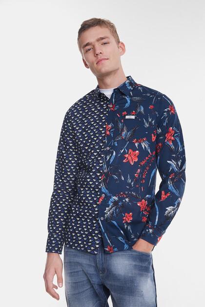 Organic shirt with half-orange print